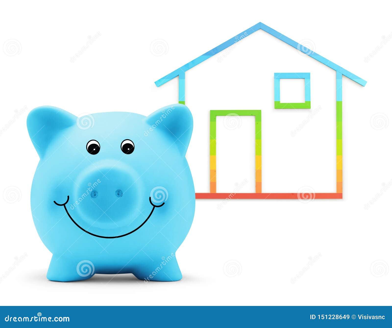Tirelire avec la forme de maison d isolement sur le fond blanc, le bâtiment vert et le concept de rendement énergétique