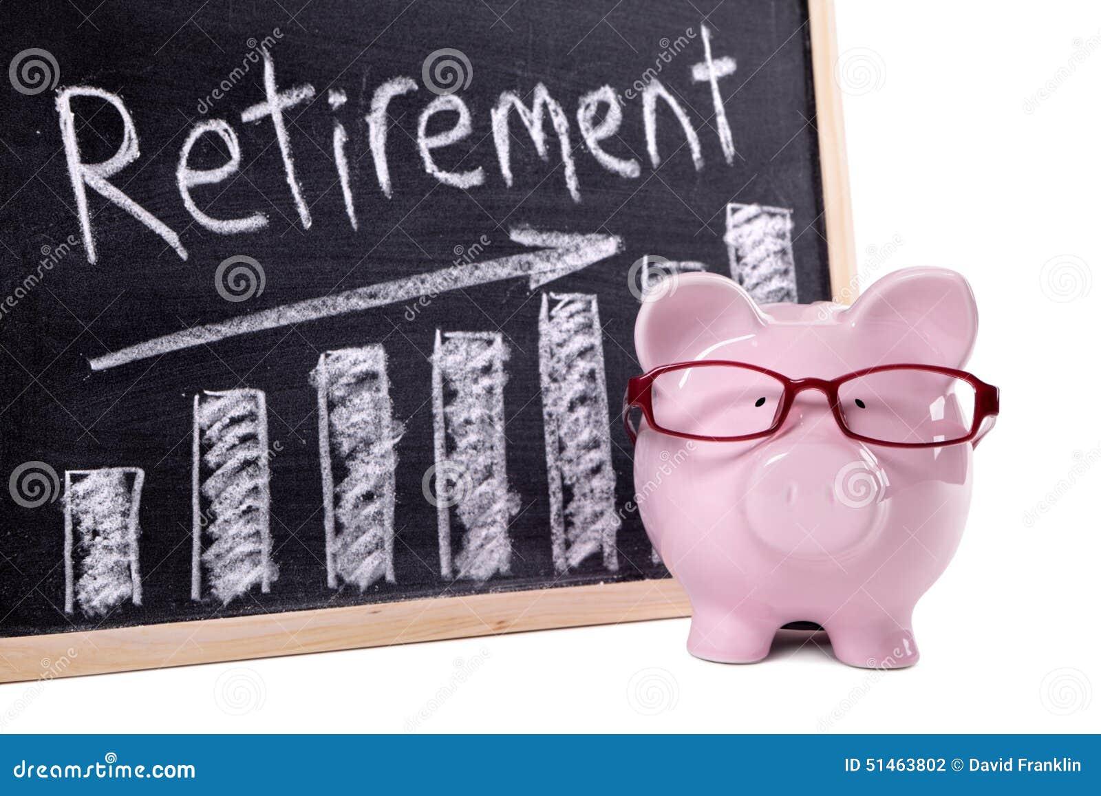 Tirelire avec le diagramme de l épargne de retraite