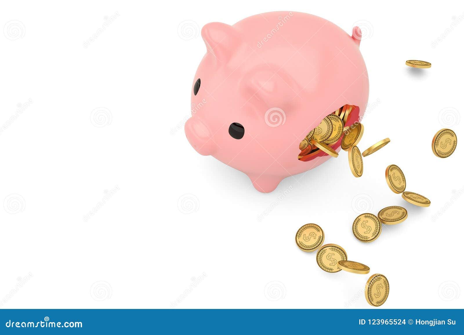 Tirelire cassée et pièces de monnaie d or volant autour illustration 3D