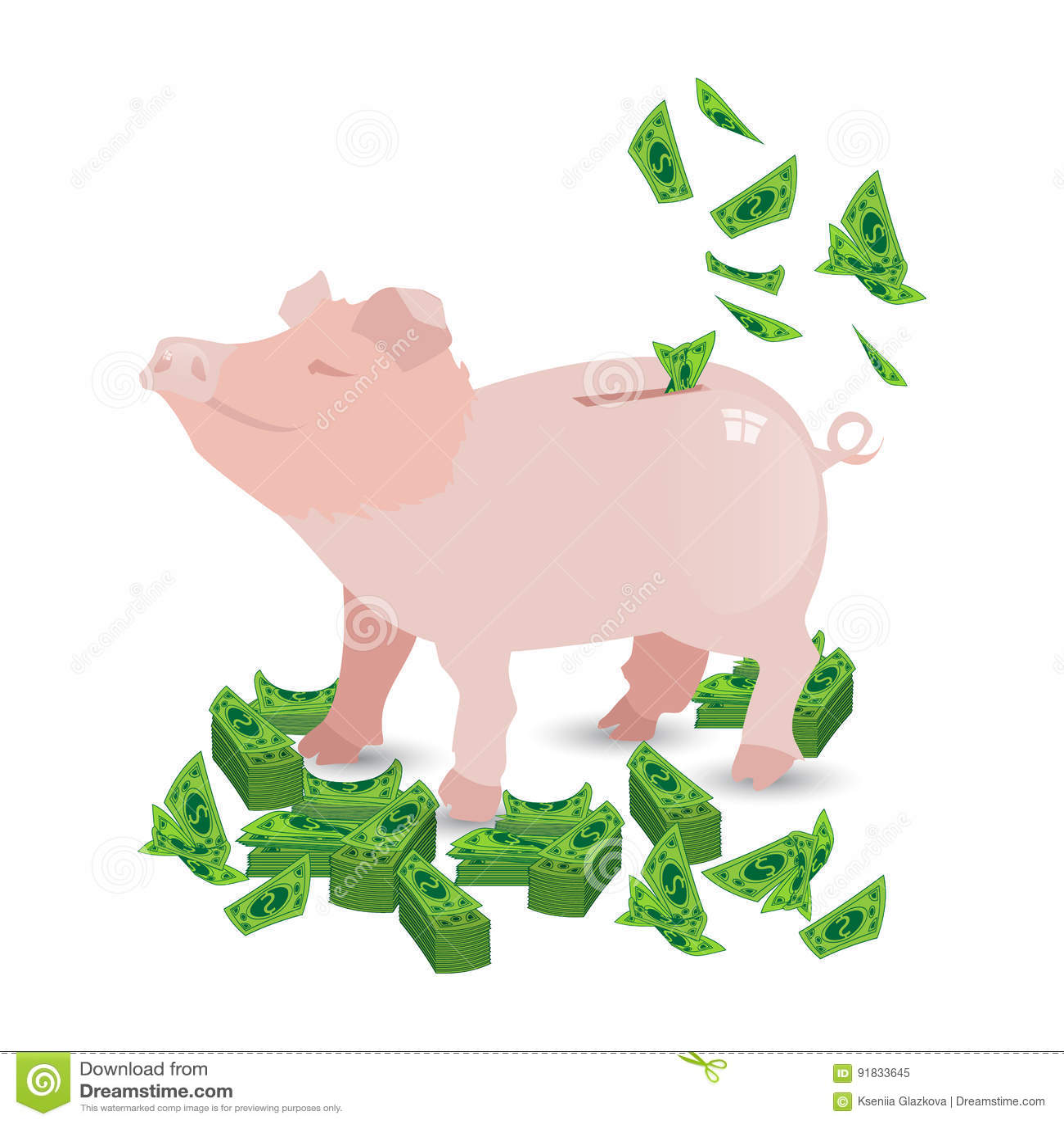 Tirelire d argent rose de porc avec mes paquets de papier