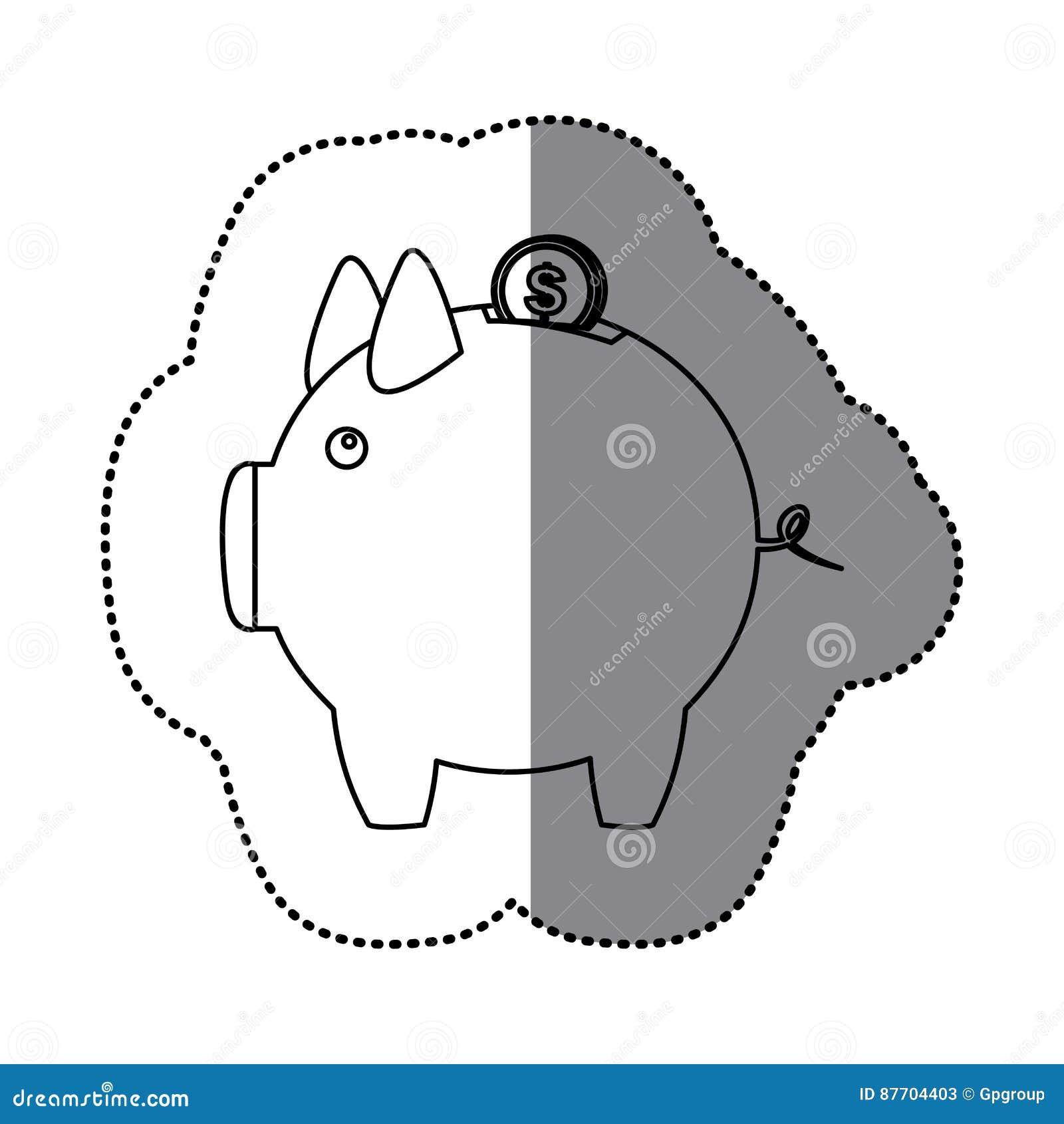 Tirelire de silhouette d autocollant avec la pièce de monnaie du dollar