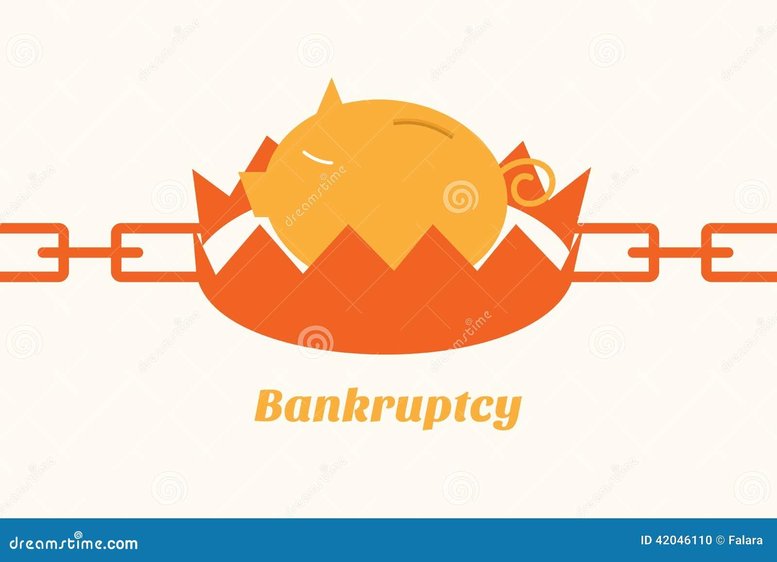 Tirelire de situation de faillite sur le piège
