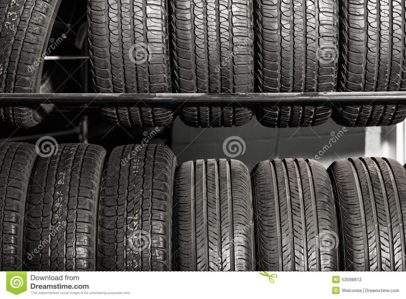 Car Tire Sales: Tires Rack Tire Sales Stock Photo. Image Of Retail, Wheel