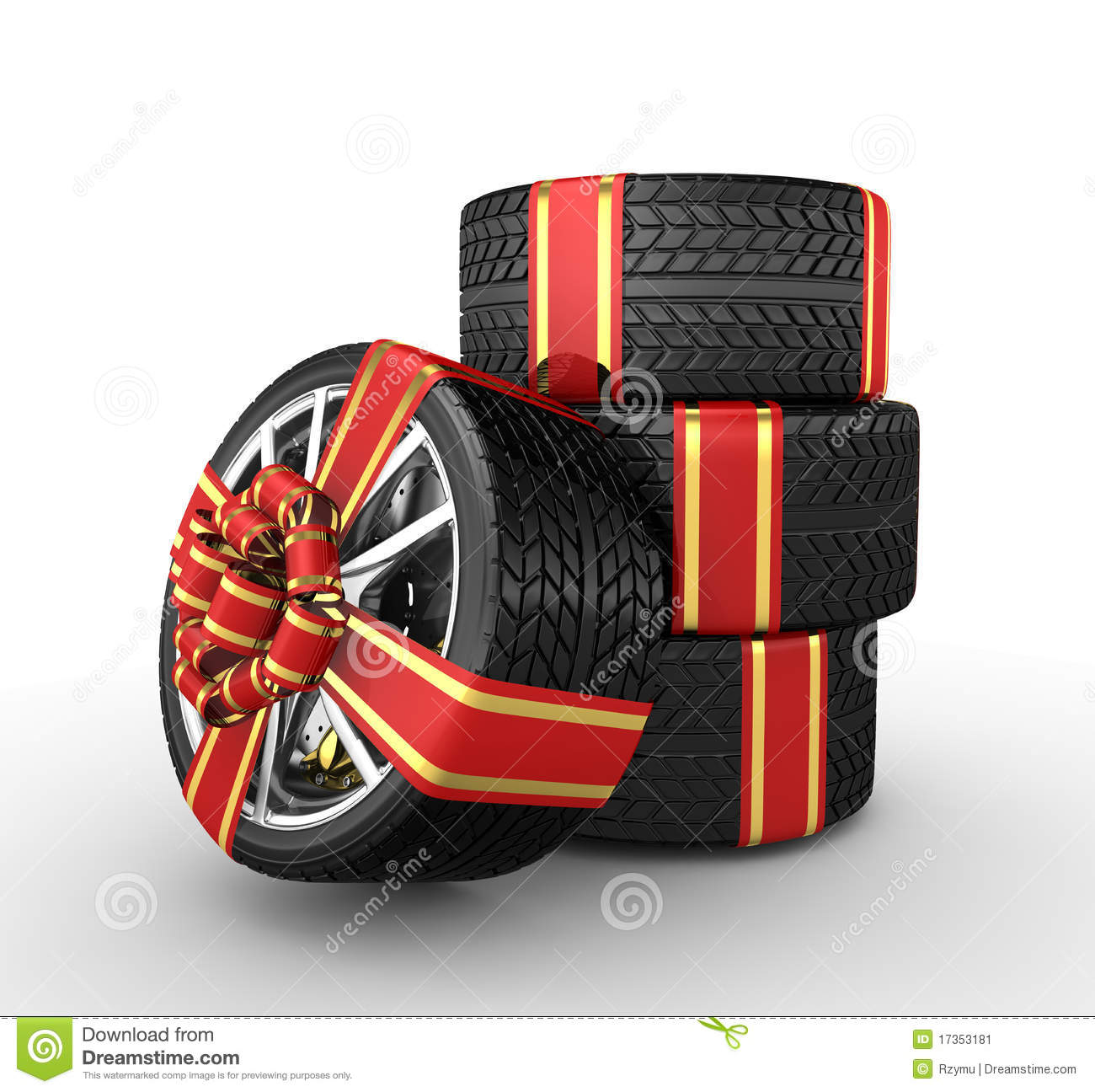 Tires With Ribbon 3d Render Stock Image Image 17353181