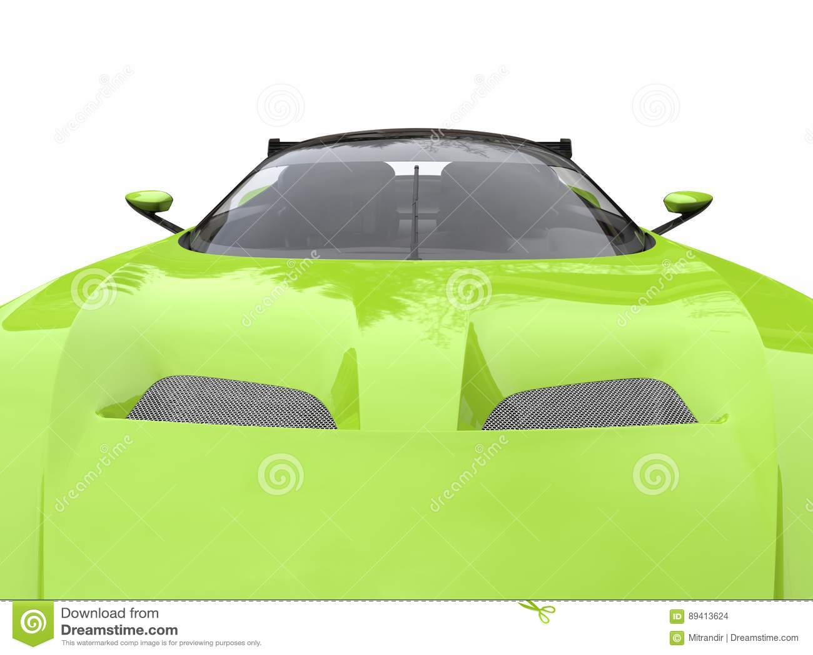 Tiro automobilístico super moderno do close up da capa do verde-lima