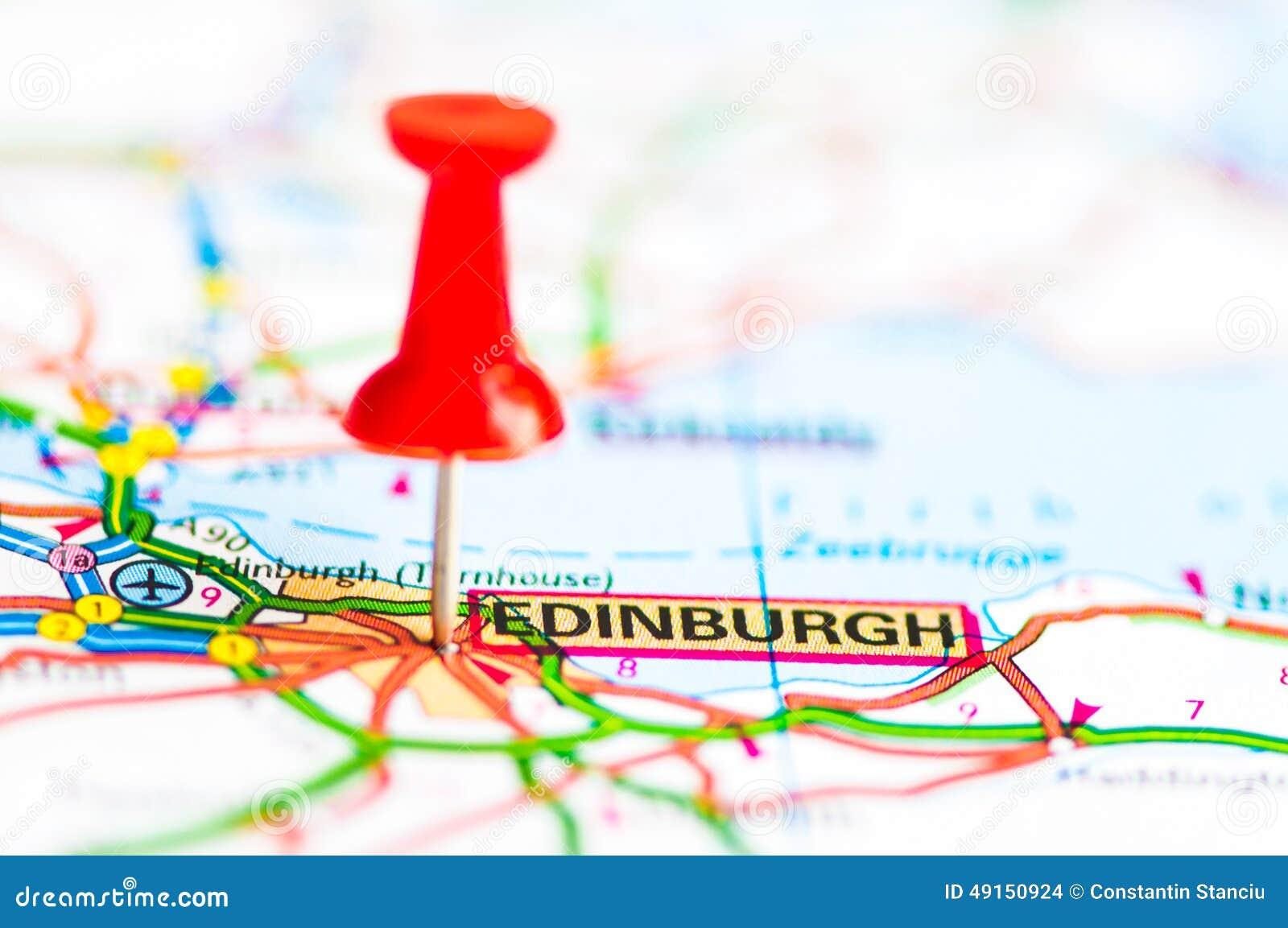 Tiro Del Primer Sobre La Ciudad De Edimburgo En El Mapa Escocia