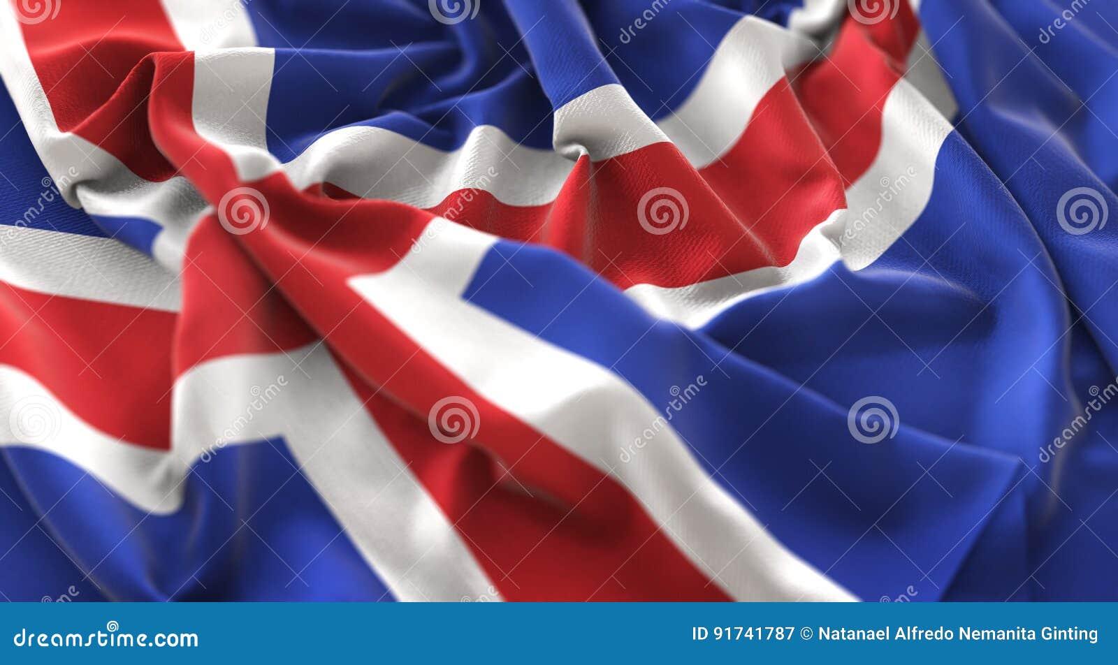 Tiro macro belamente de ondulação enrugado do close-up da bandeira de Islândia