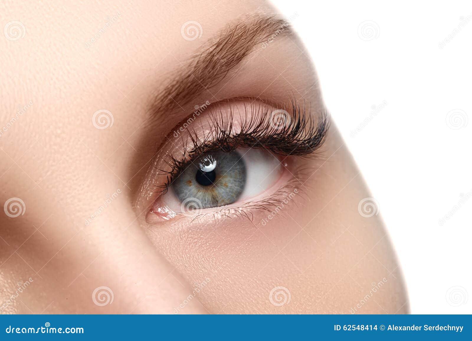 Tiro macro do olho bonito da mulher com as pestanas extremamente longas Vista  sexy , olhar sensual Olho fêmea com pestanas longa