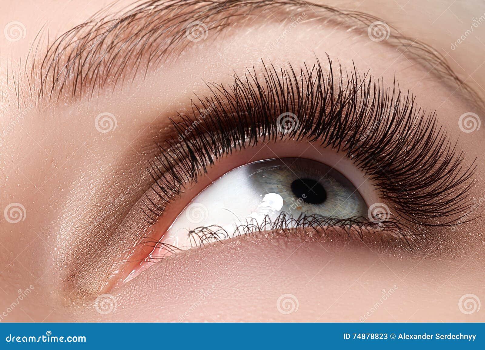Tiro macro do olho bonito do ` s da mulher com pestanas longas