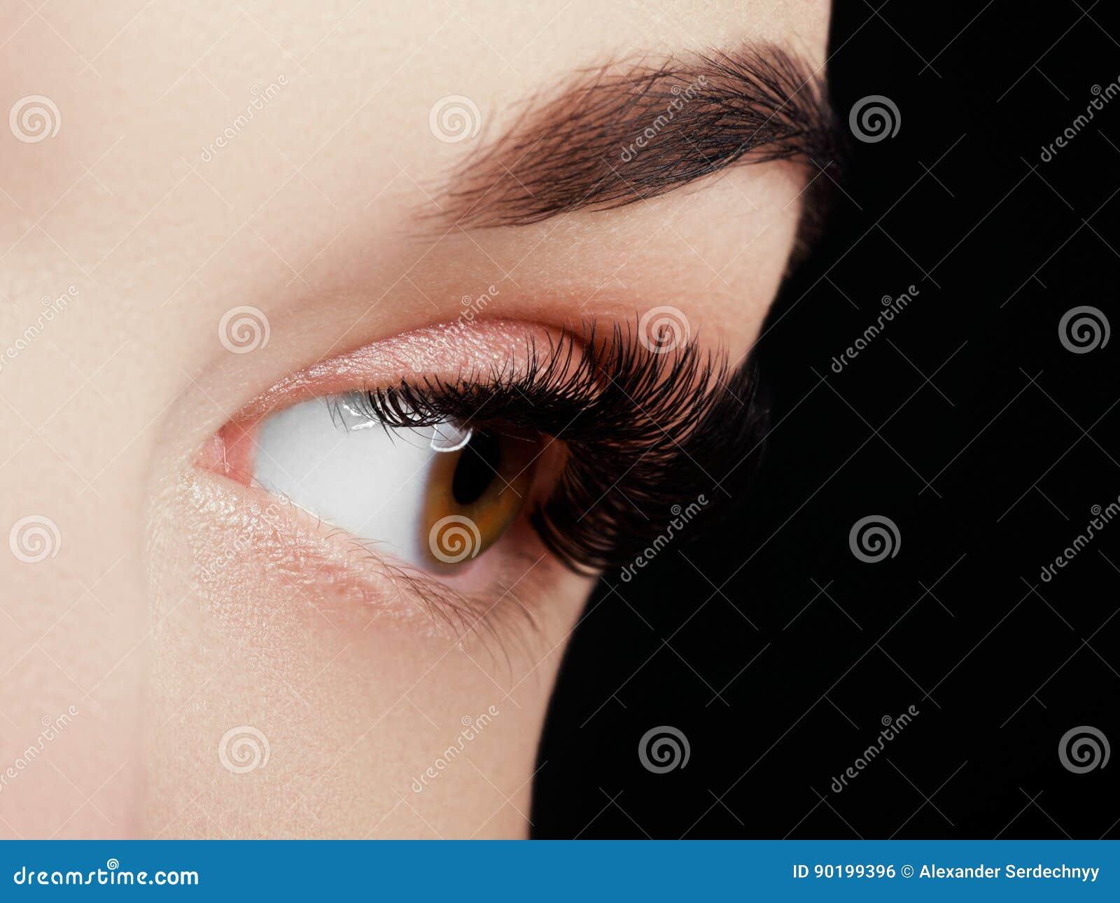 Tiro macro hermoso del ojo femenino con las pestañas largas extremas y el maquillaje negro del trazador de líneas