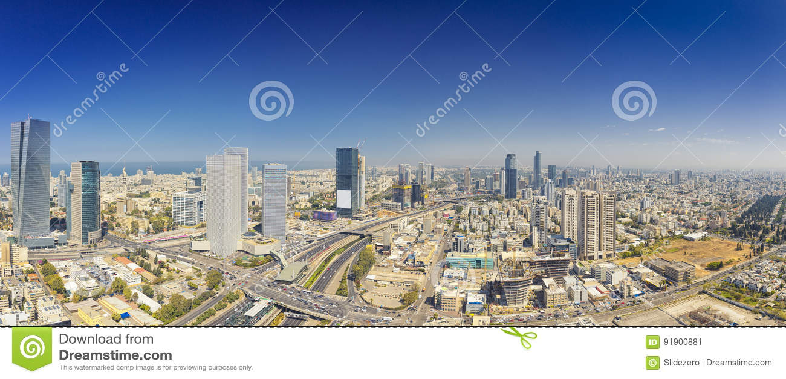 Tiro panorâmico do telefone Aviv And Ramat Gan Skyline