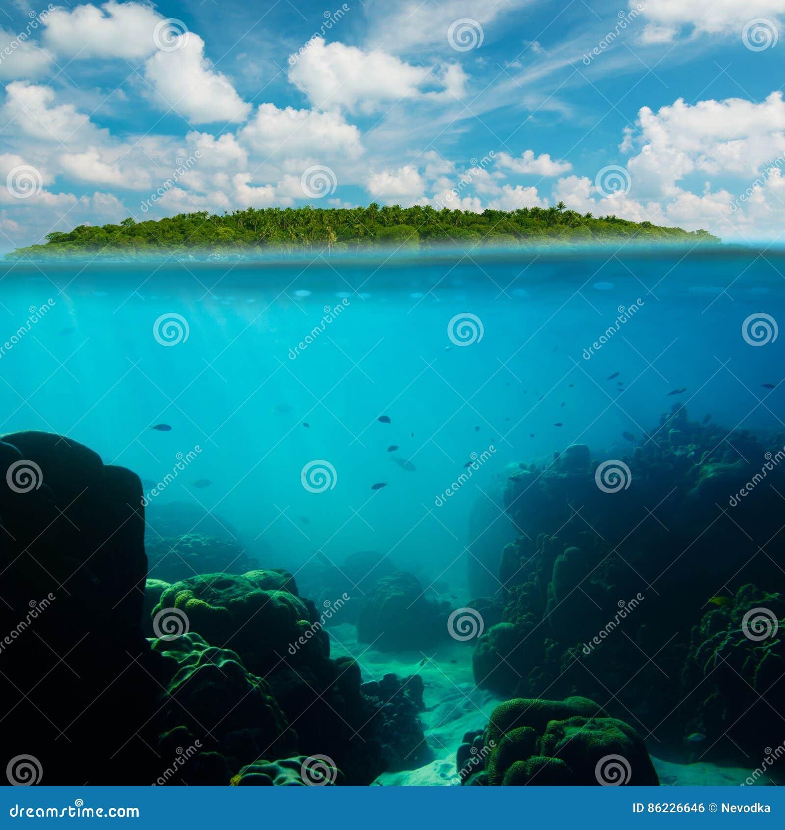 Tiro subaquático tropical splitted com ilha