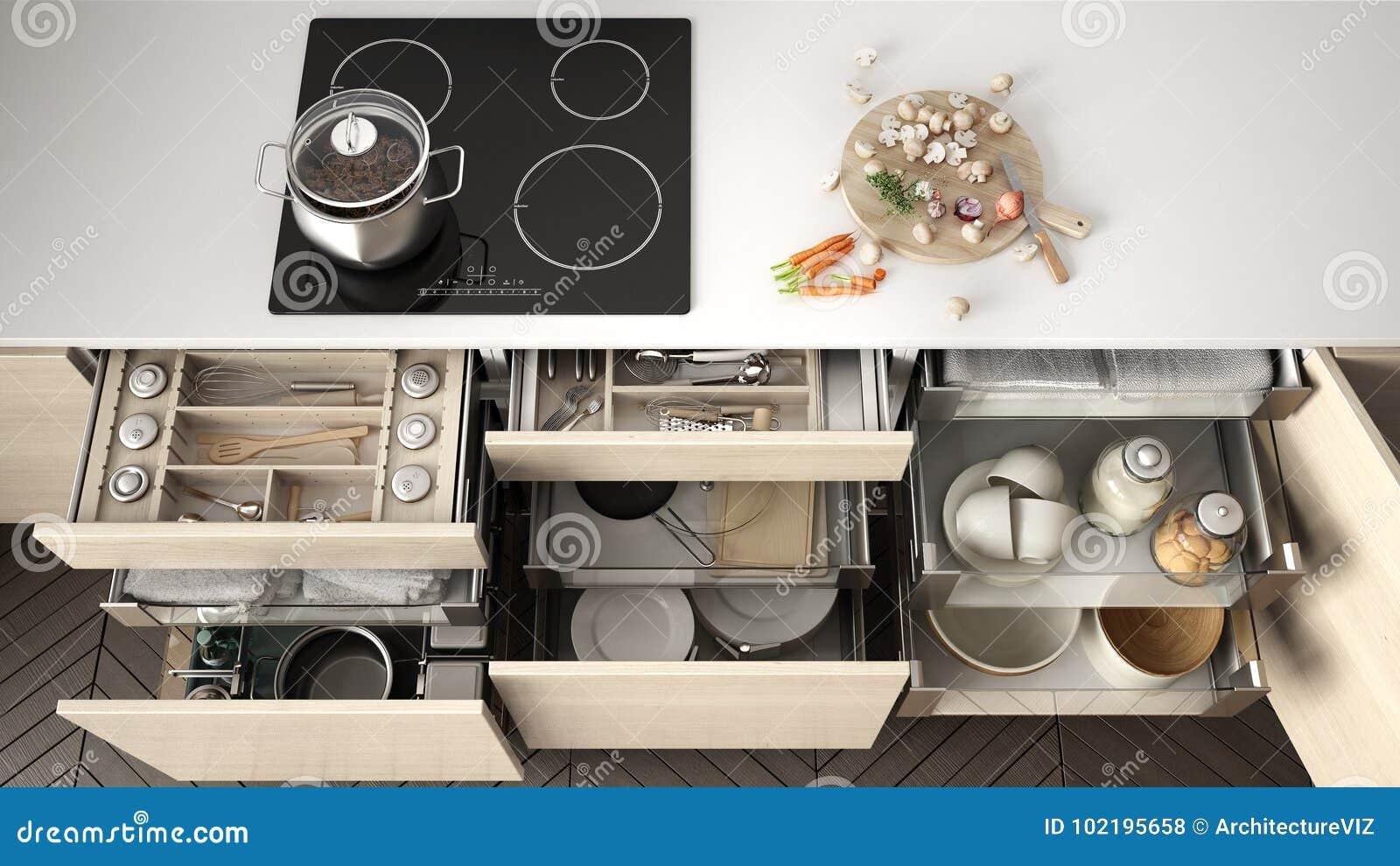 tiroir en bois ouvert de cuisine avec des accessoires l intrieur solution f