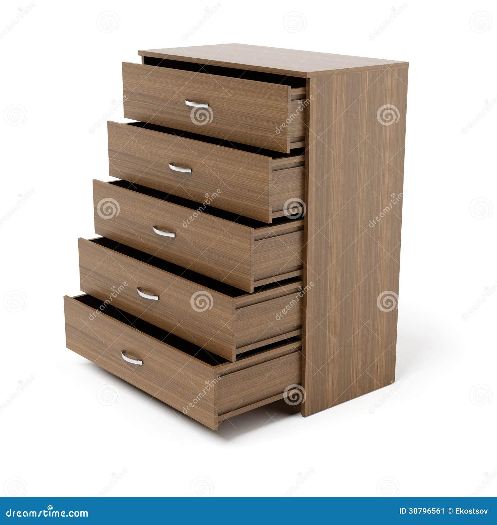 Tiroirs ouverts de coffret en bois image stock image for Comamortisseur de tiroir