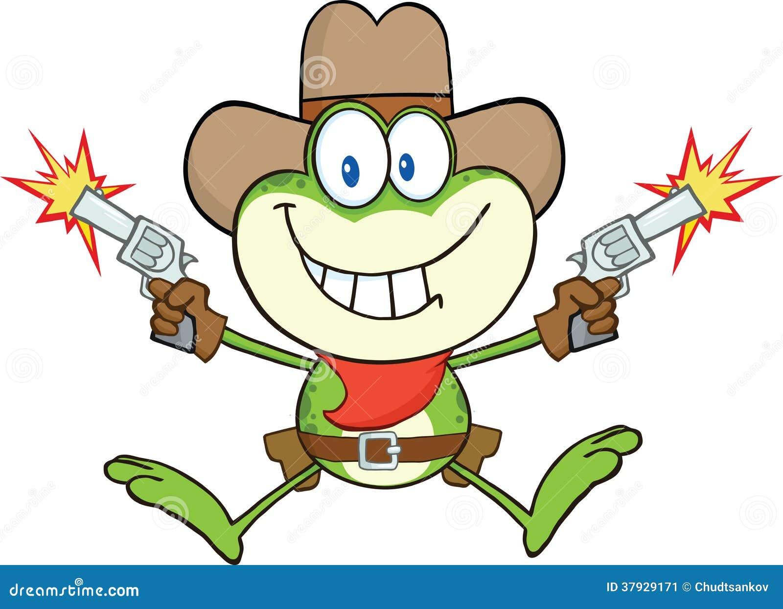 Tiroteo de Frog Cartoon Character del vaquero con dos armas