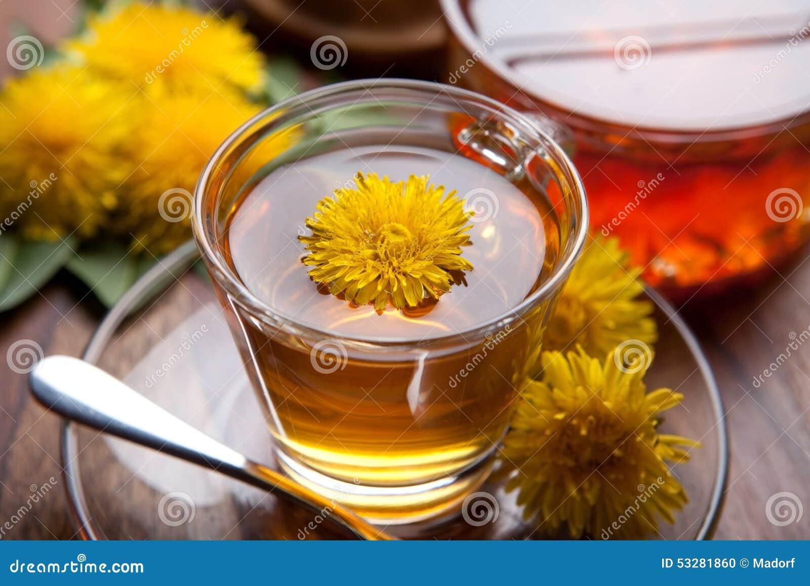 tisane et miel faits de pissenlit avec la fleur jaune sur. Black Bedroom Furniture Sets. Home Design Ideas