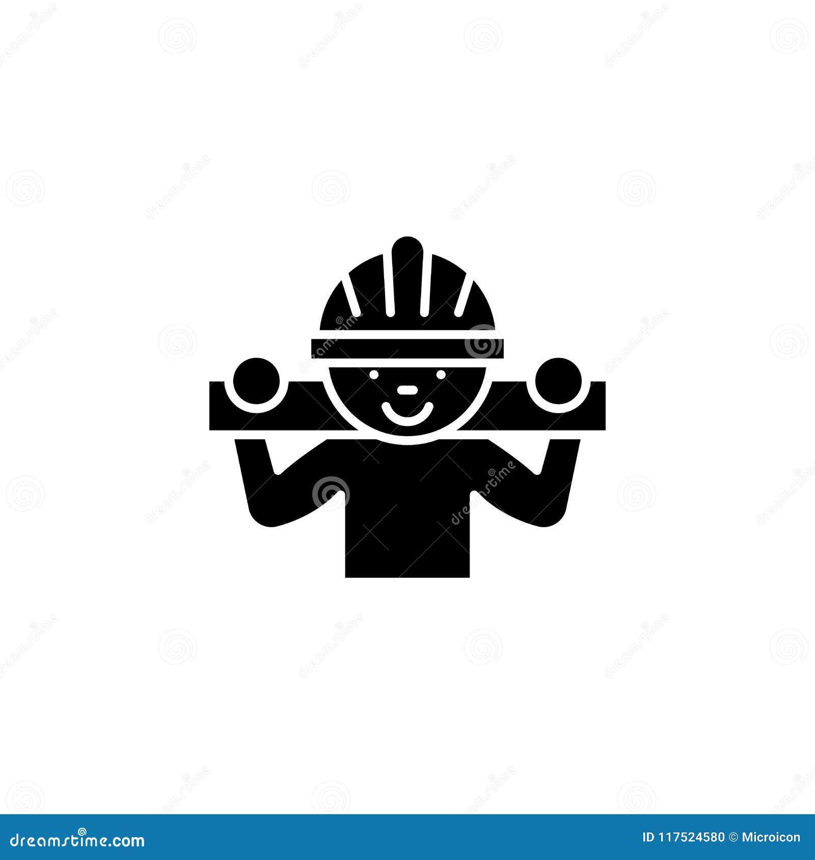 Tischler mit hölzernem Stangenschwarz-Ikonenkonzept Tischler mit flachem Vektorsymbol der hölzernen Stange, Zeichen, Illustration