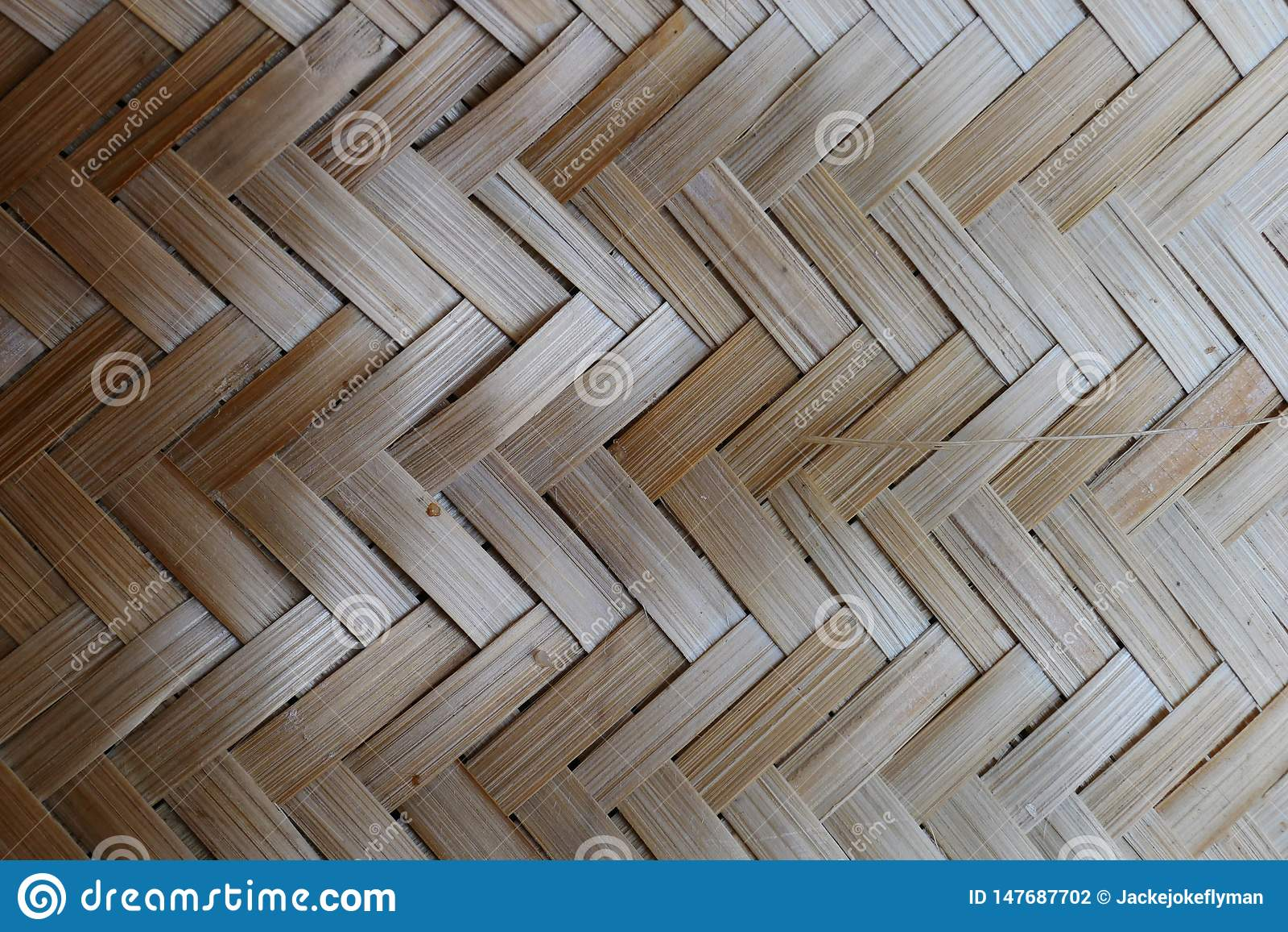 Tissage de bambou ou de paille fond en bois de texture de panier