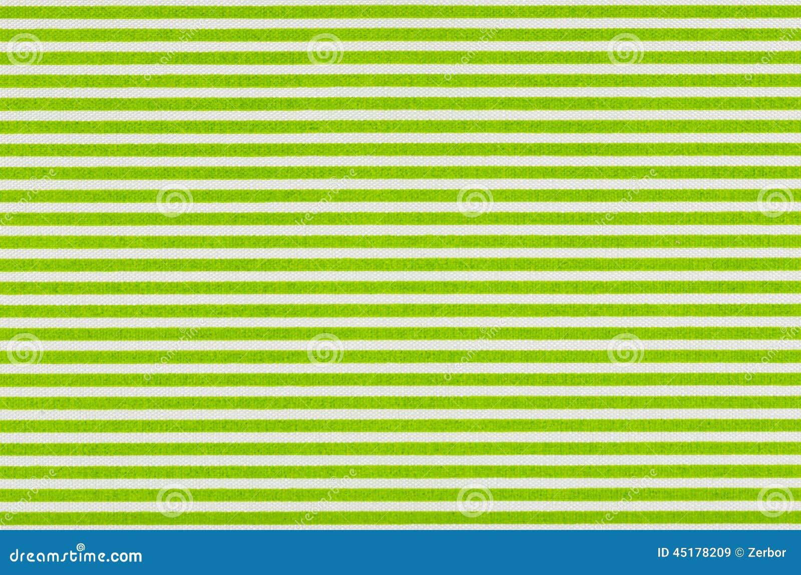 Tissu blanc avec les rayures vertes