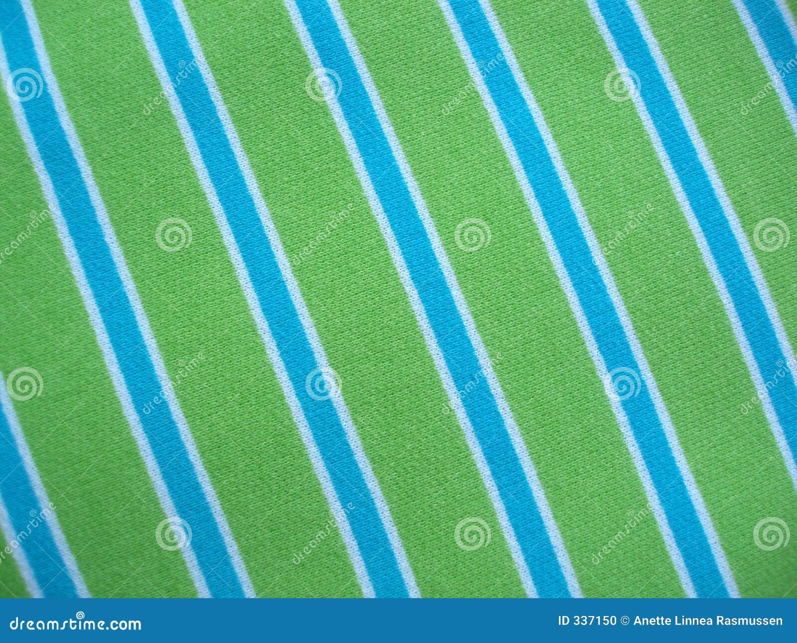 Tissu de coton avec des pistes de vert bleu et de blanc
