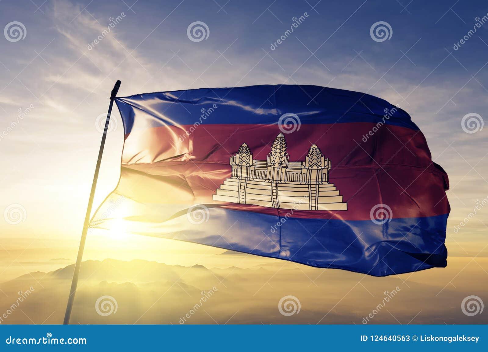 Tissu de tissu de textile de drapeau national du Cambodge ondulant sur le dessus