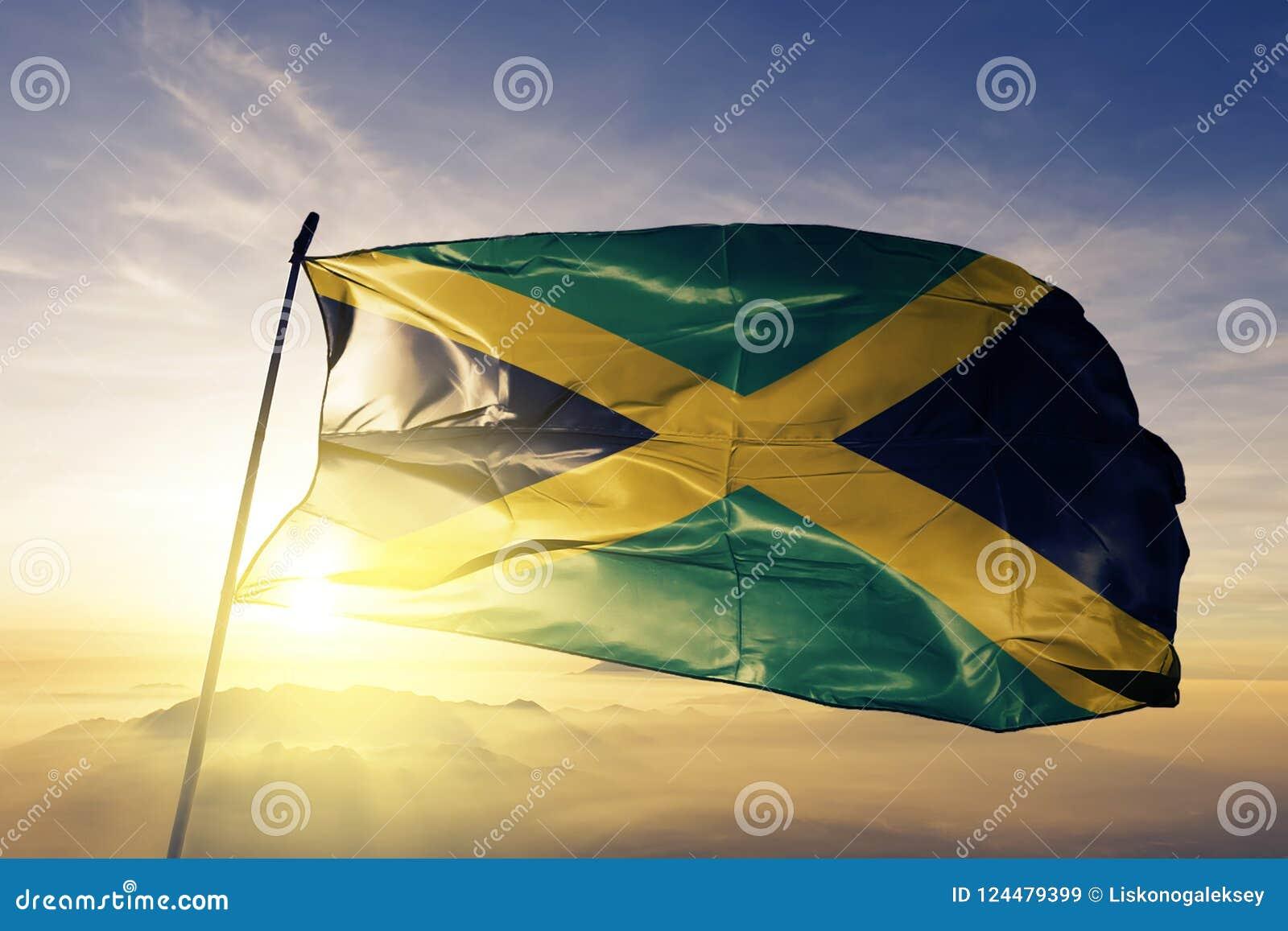 Tissu de tissu de textile de drapeau national de la Jamaïque ondulant sur le dessus