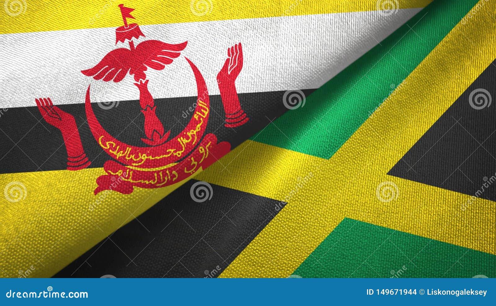 Tissu de textile de drapeaux du Brunei et de la Jamaïque deux, texture de tissu