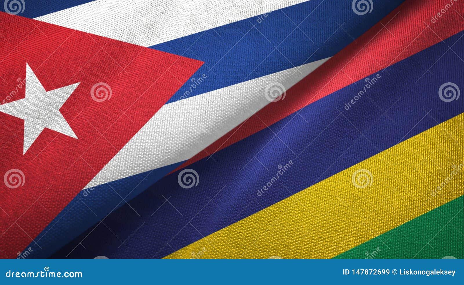 Tissu de textile de drapeaux du Cuba et des Îles Maurice deux, texture de tissu