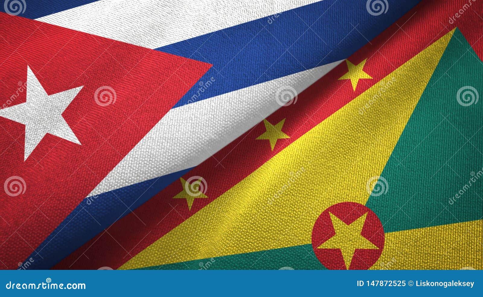 Tissu de textile de drapeaux du Cuba et du Grenada deux, texture de tissu