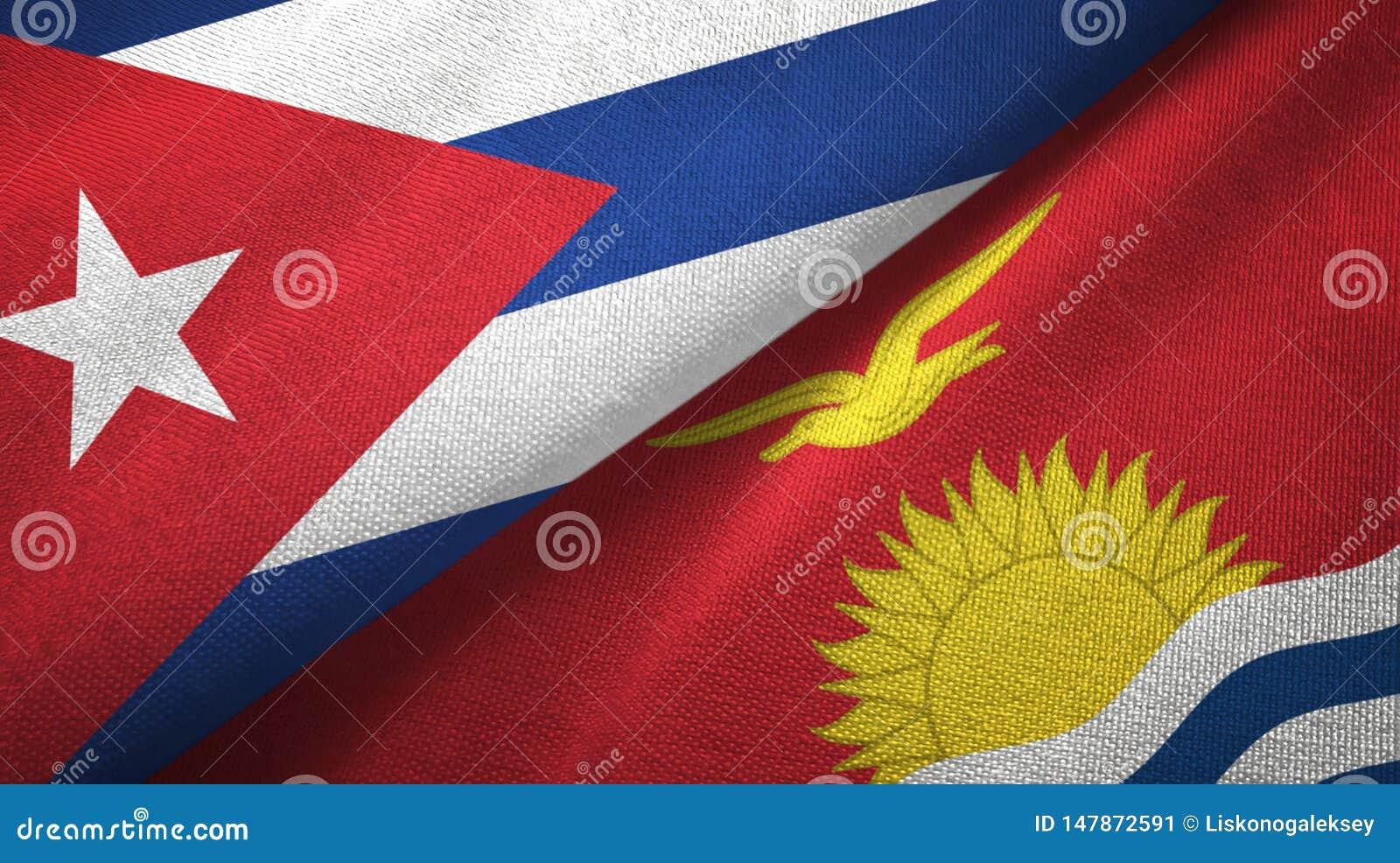 Tissu de textile de drapeaux du Cuba et du Kiribati deux, texture de tissu