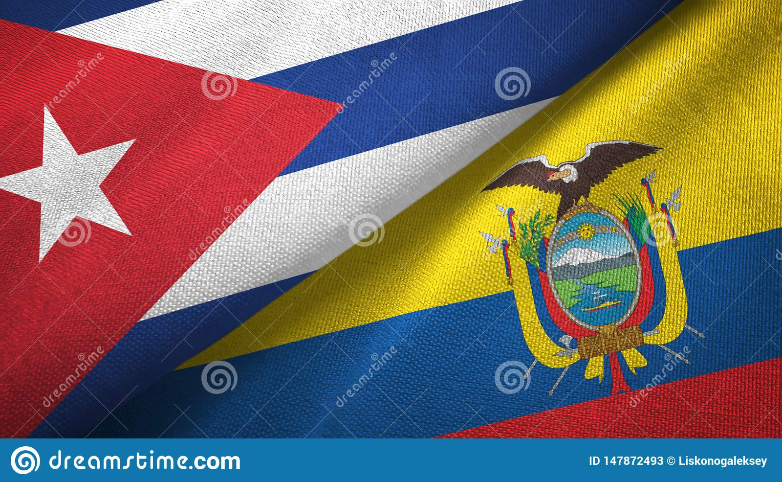 Tissu de textile de drapeaux du Cuba et de l Equateur deux, texture de tissu