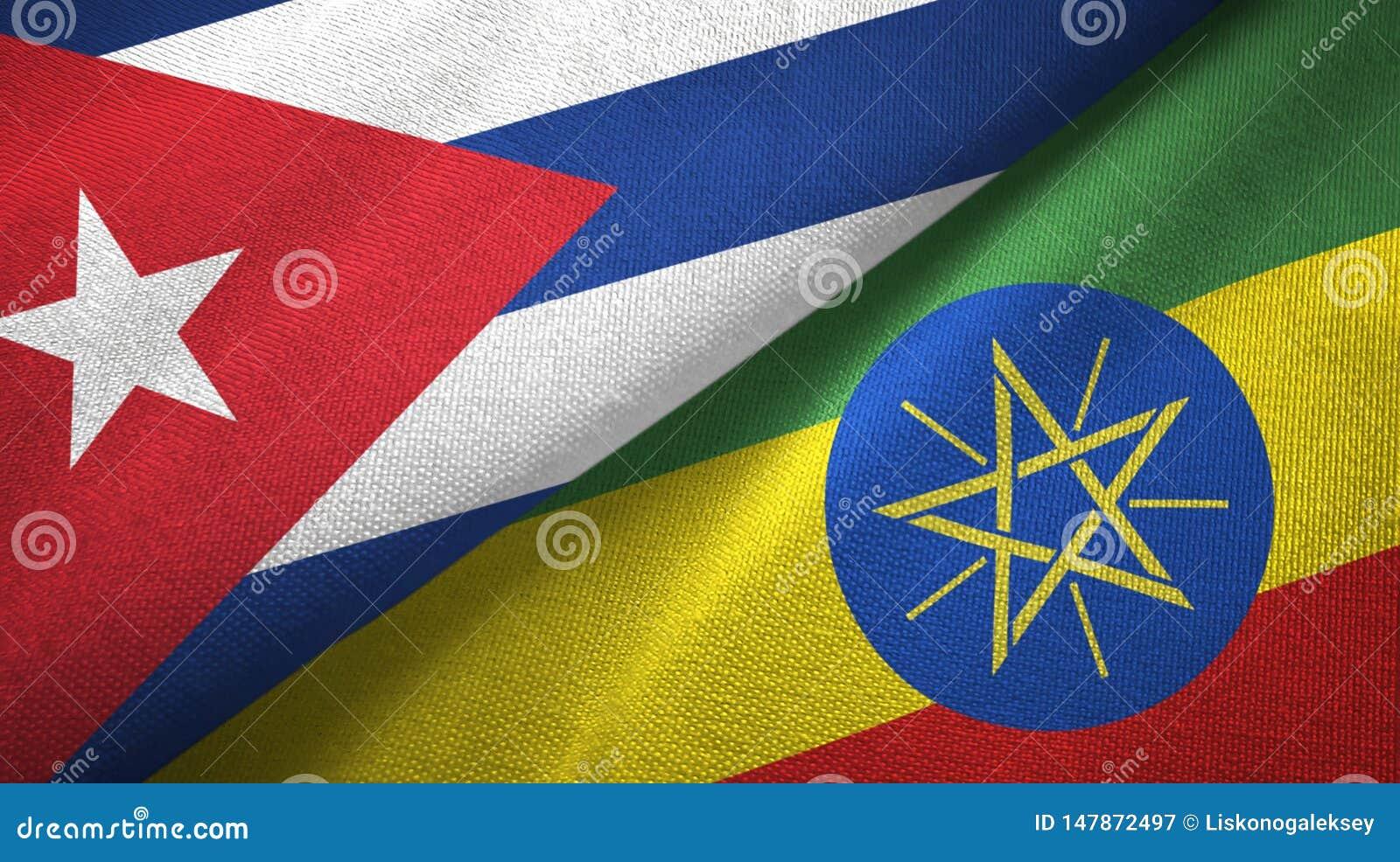 Tissu de textile de drapeaux du Cuba et de l Ethiopie deux, texture de tissu