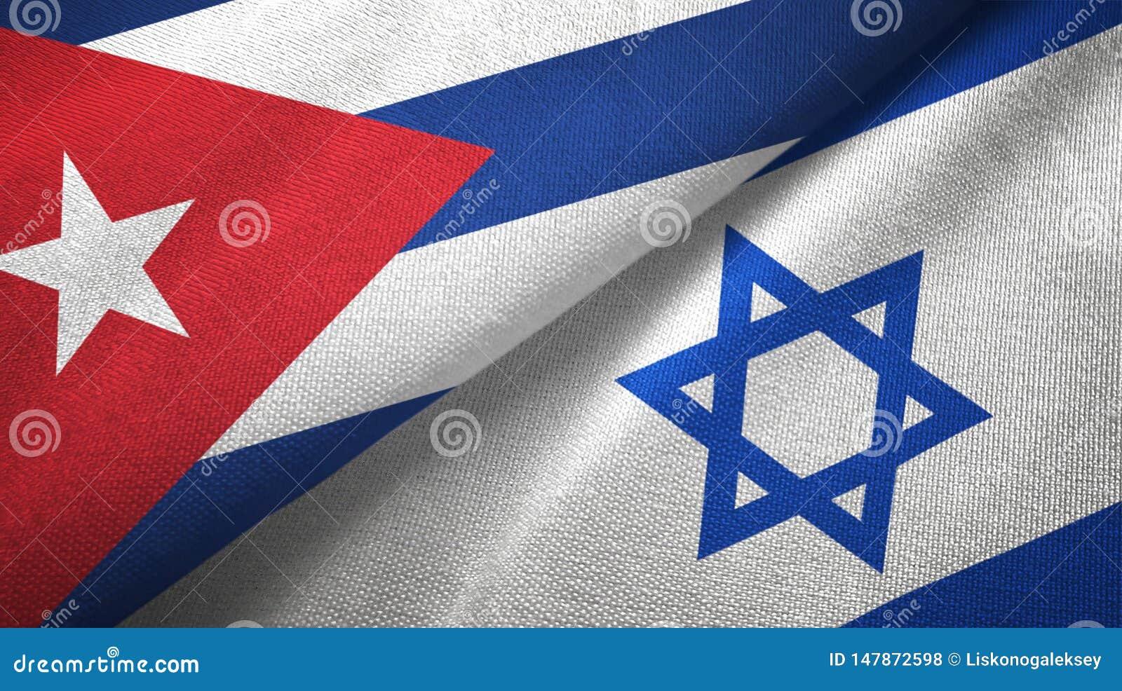 Tissu de textile de drapeaux du Cuba et de l Israël deux, texture de tissu