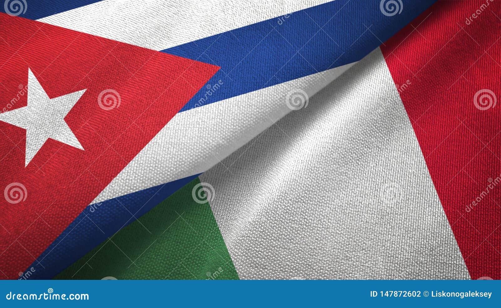 Tissu de textile de drapeaux du Cuba et de l Italie deux, texture de tissu