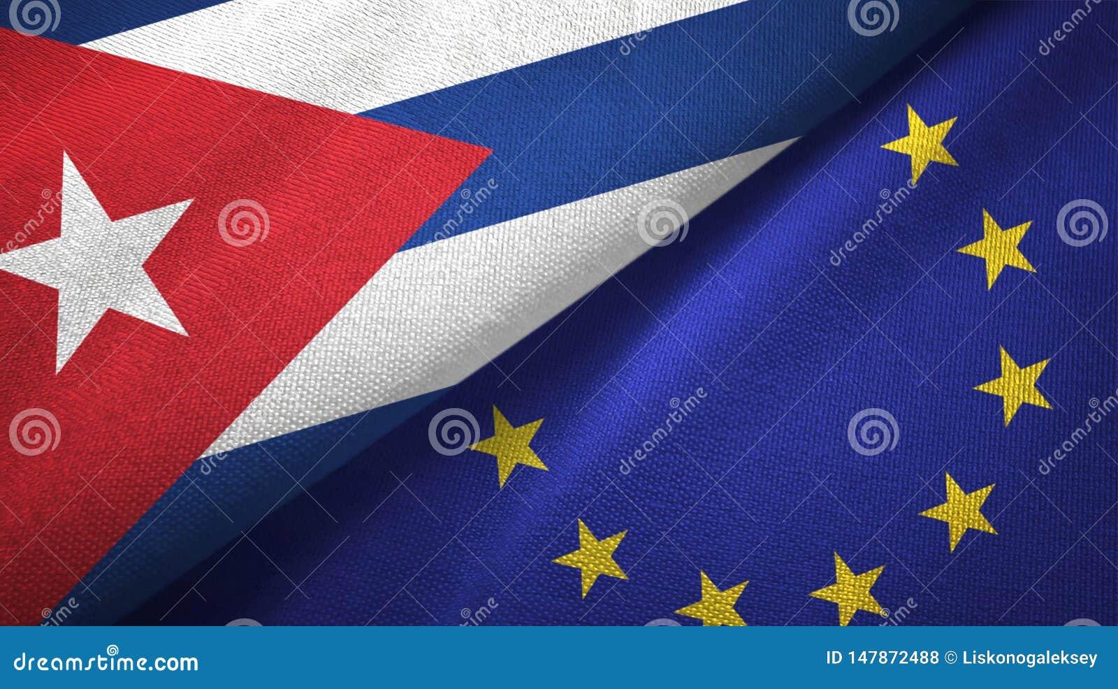 Tissu de textile de drapeaux du Cuba et de l Union européenne deux, texture de tissu