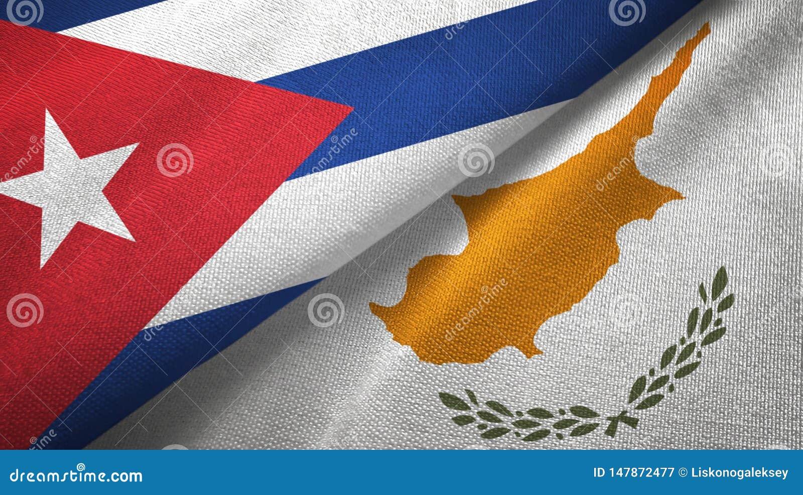Tissu de textile de drapeaux du Cuba et de la Chypre deux, texture de tissu