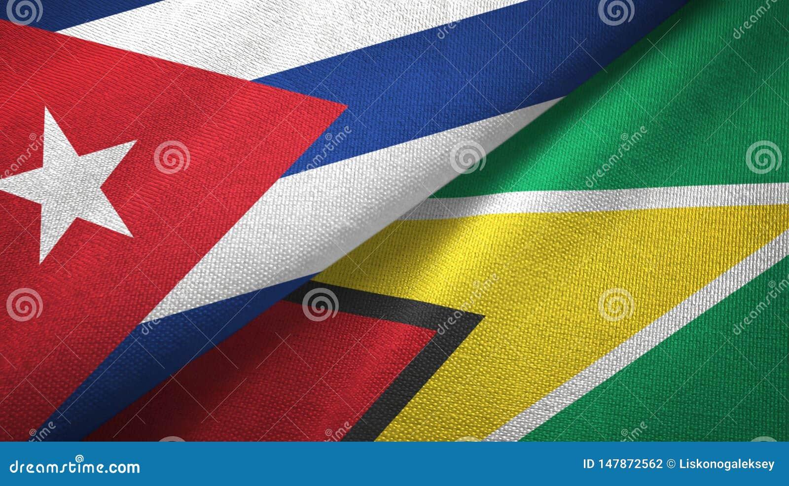 Tissu de textile de drapeaux du Cuba et de la Guyane deux, texture de tissu