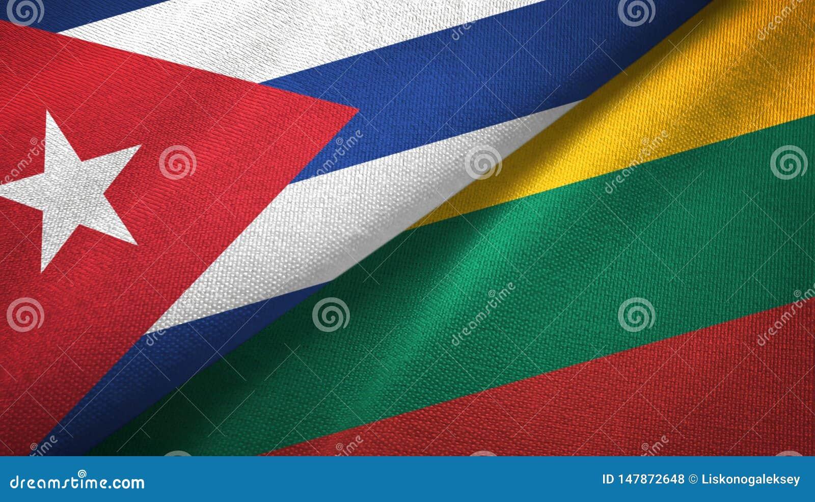 Tissu de textile de drapeaux du Cuba et de la Lithuanie deux, texture de tissu