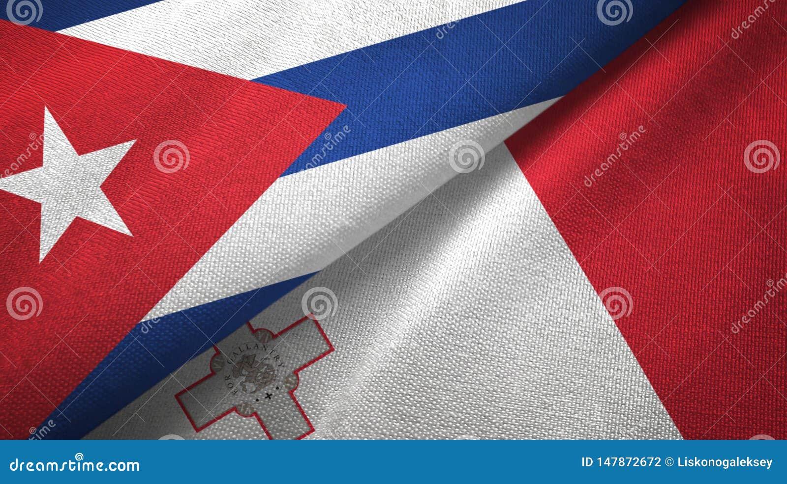 Tissu de textile de drapeaux du Cuba et de la Malte deux, texture de tissu