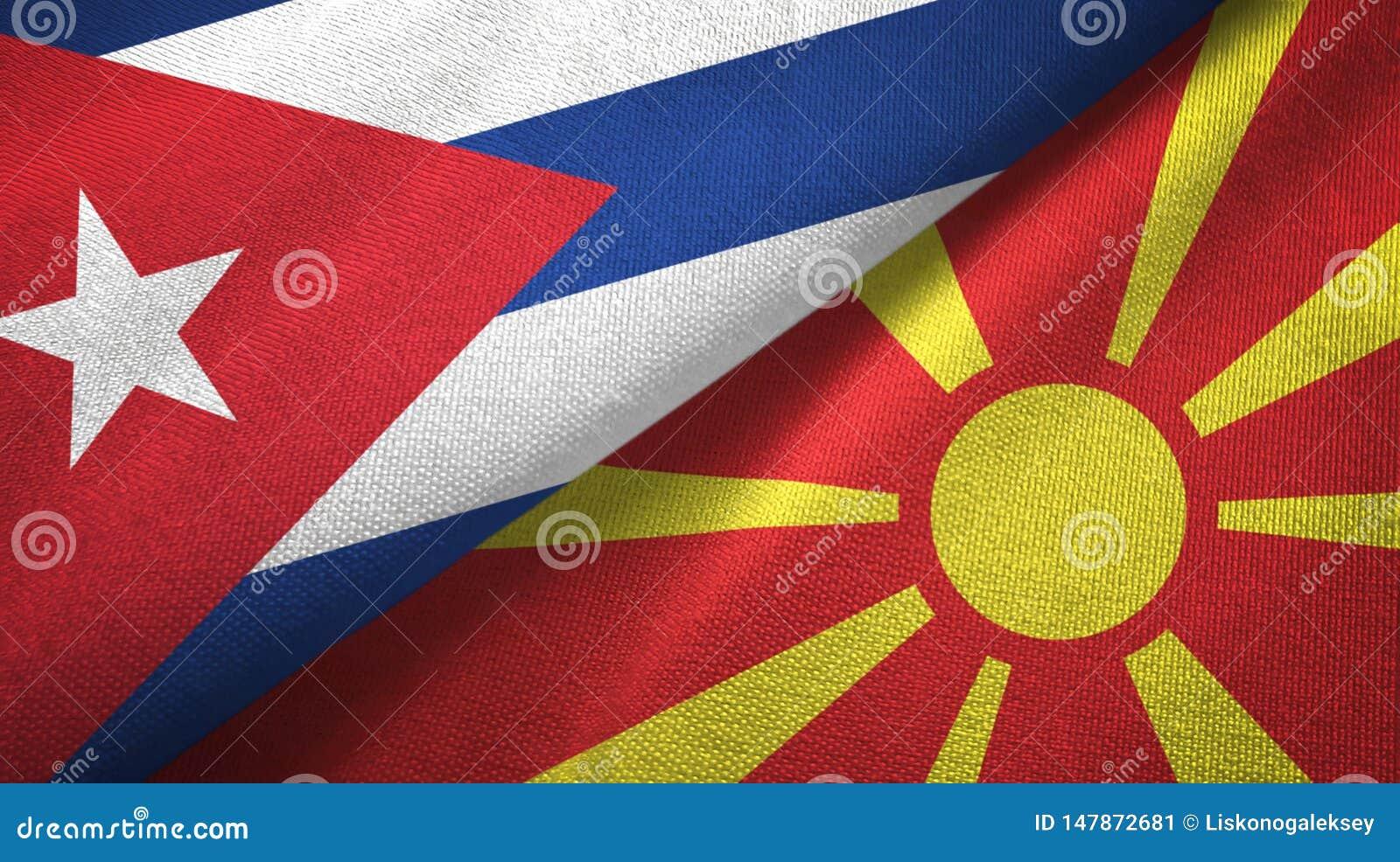 Tissu de textile de drapeaux du Cuba et du Macédoine deux, texture de tissu