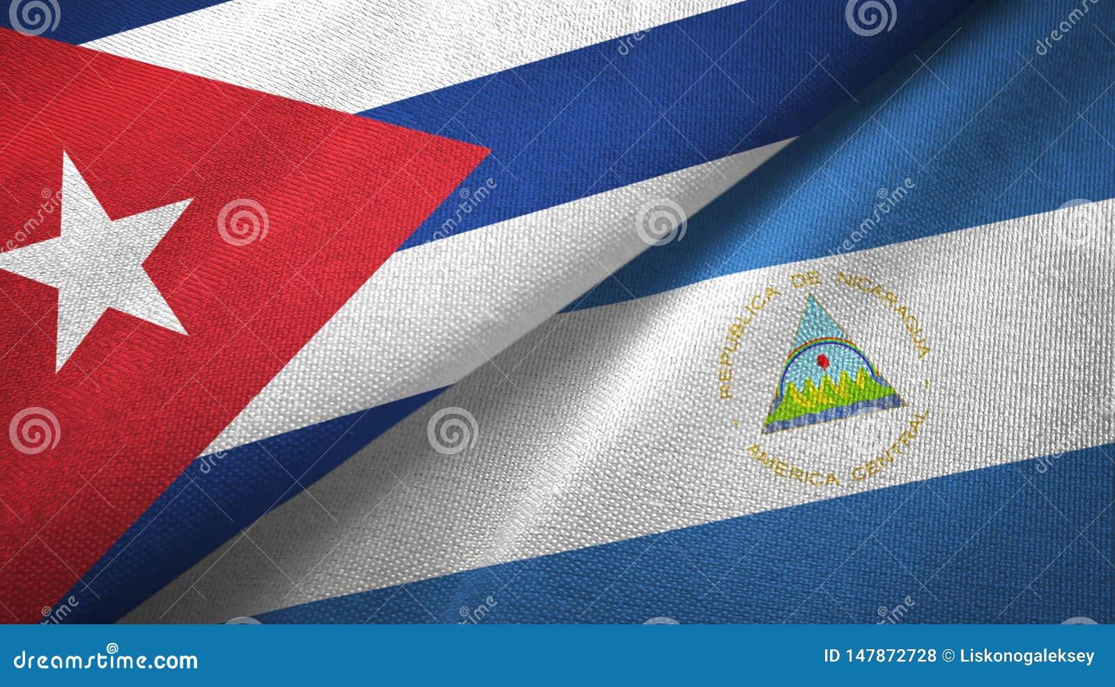 Tissu de textile de drapeaux du Cuba et du Nicaragua deux, texture de tissu