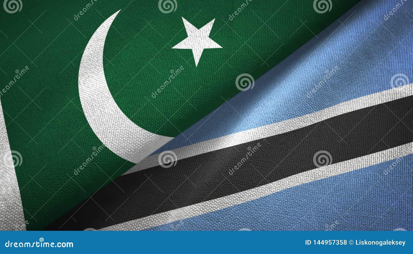 Tissu de textile de drapeaux du Pakistan et du Botswana deux, texture de tissu