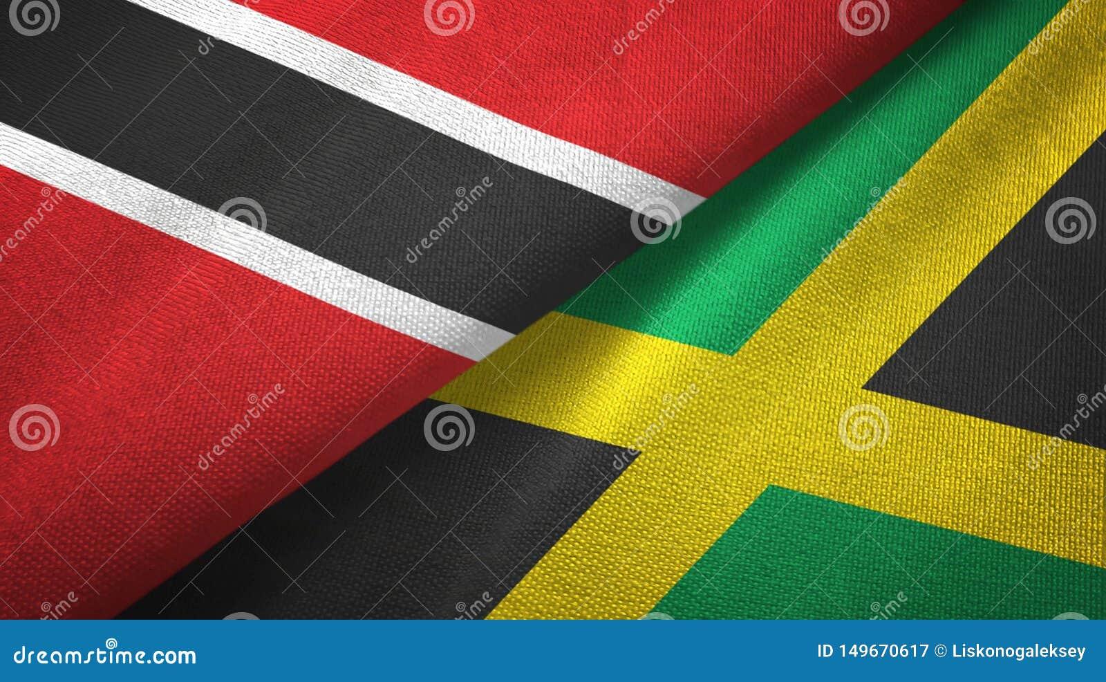 Tissu de textile de drapeaux du Trinidad-et-Tobago et de la Jama?que deux, texture de tissu