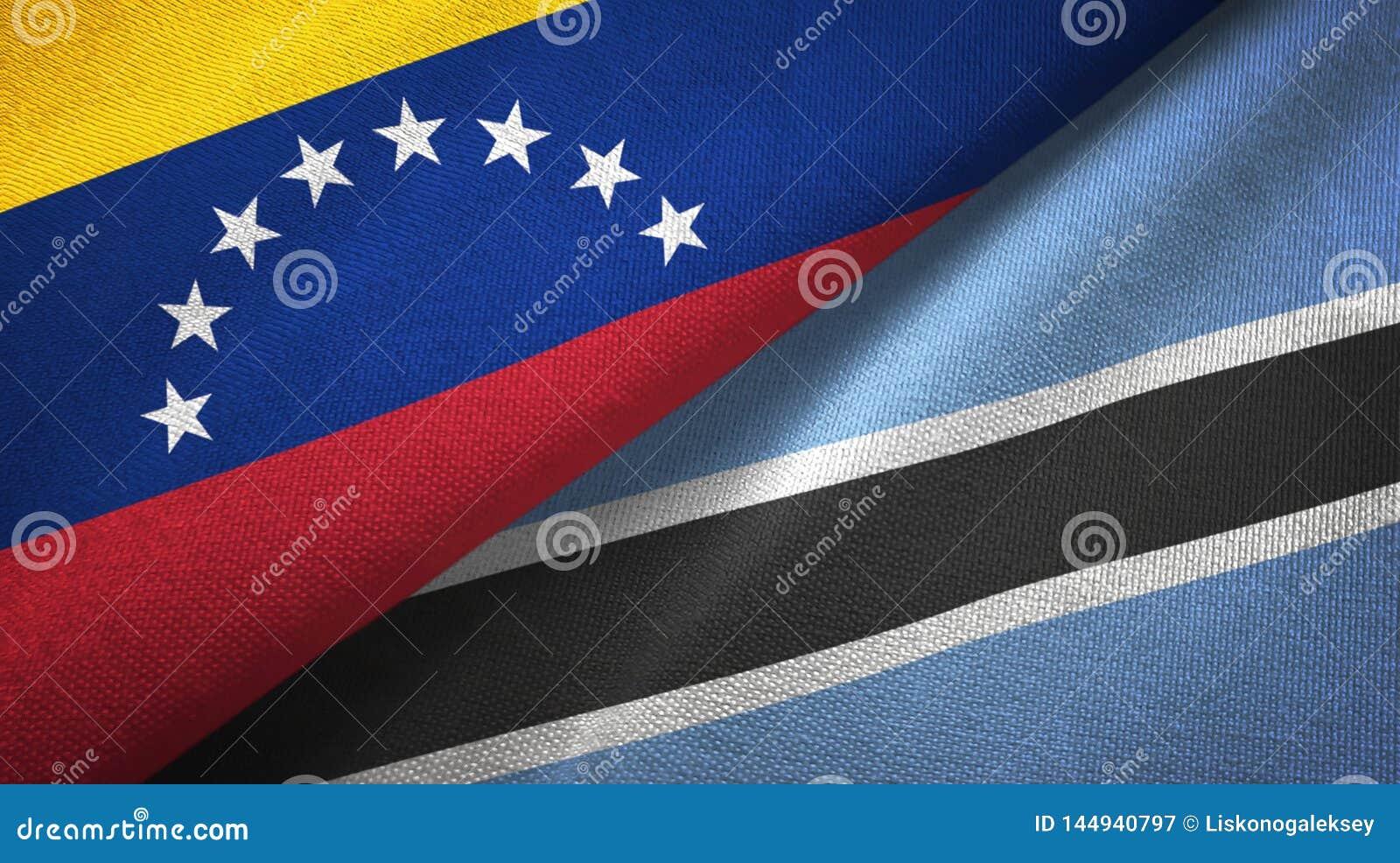 Tissu de textile de drapeaux du Venezuela et du Botswana deux, texture de tissu