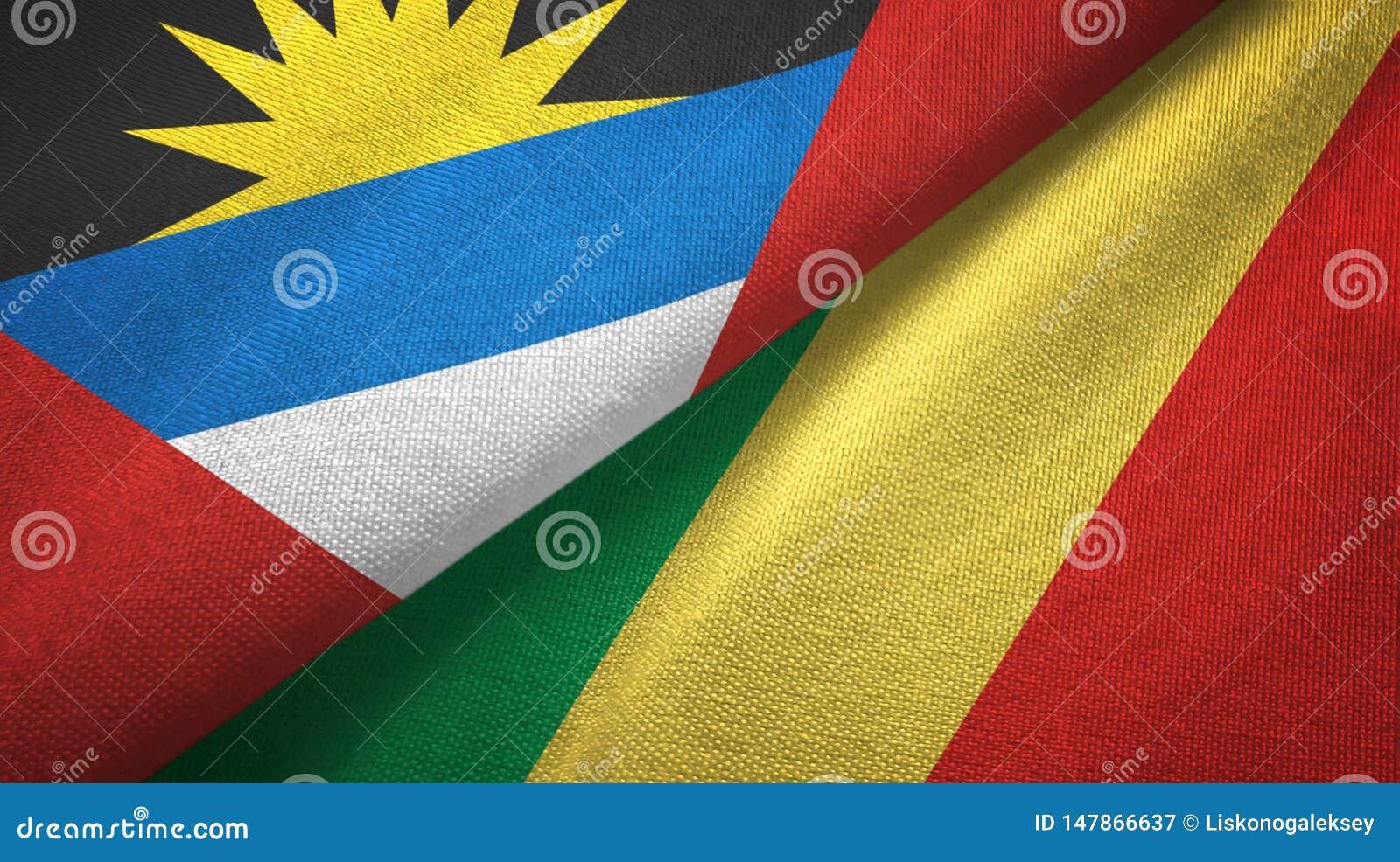 Tissu de textile de drapeaux de l Antigua-et-Barbuda et du Congo deux, texture de tissu