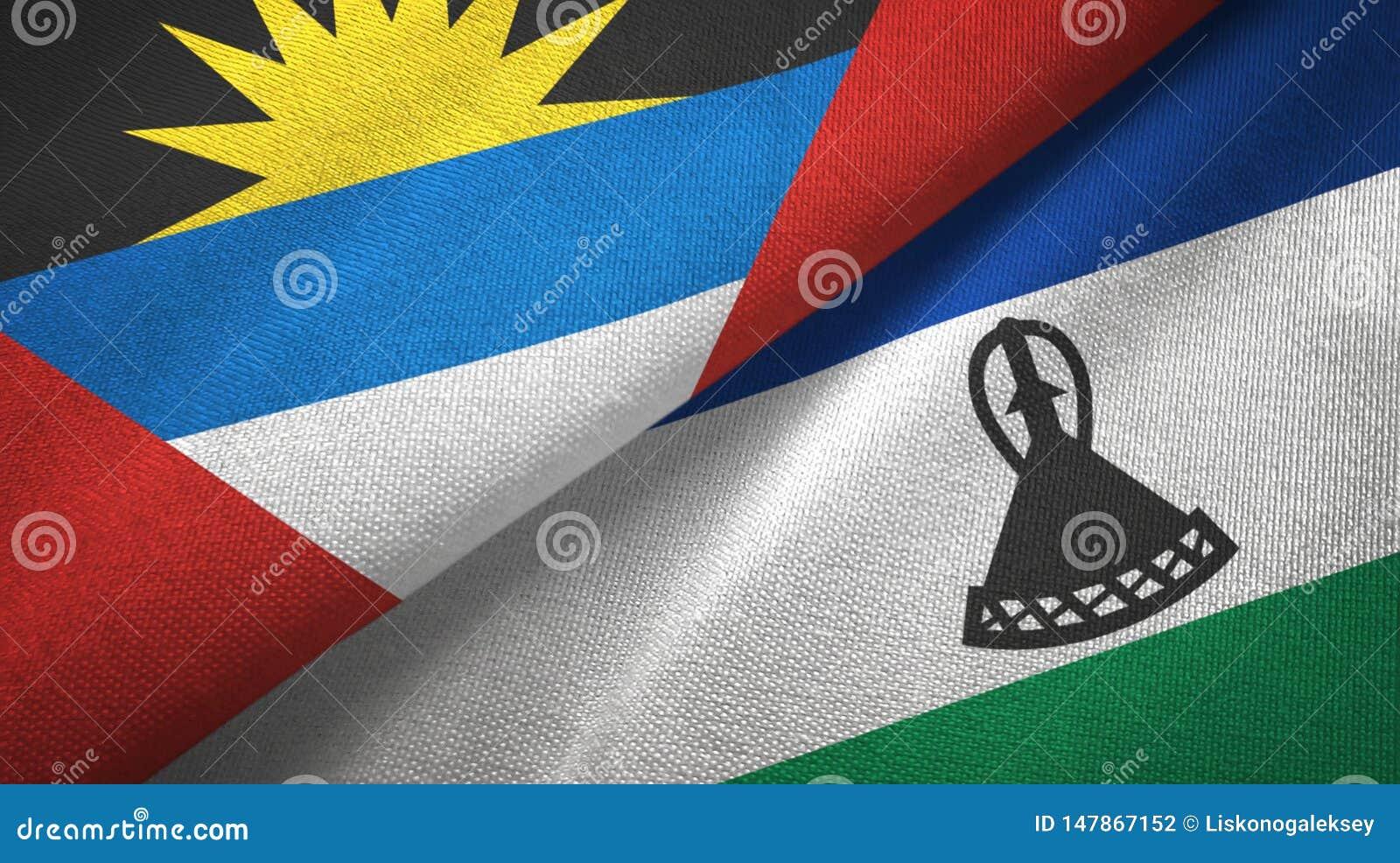 Tissu de textile de drapeaux de l Antigua-et-Barbuda et du Lesotho deux, texture de tissu