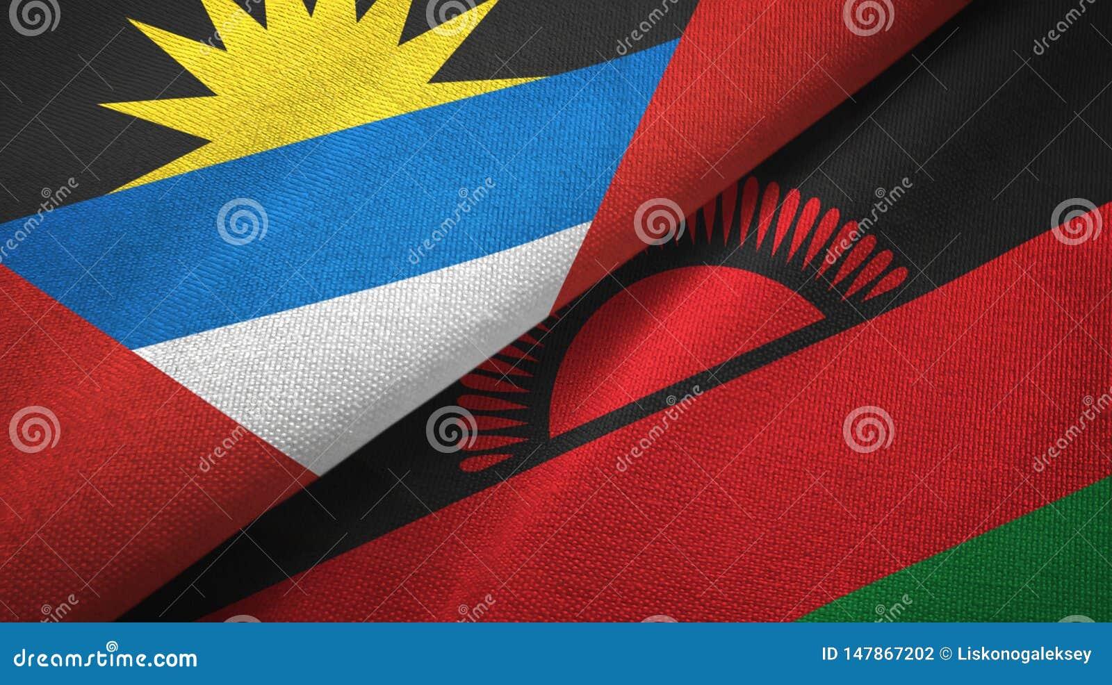 Tissu de textile de drapeaux de l Antigua-et-Barbuda et du Malawi deux, texture de tissu