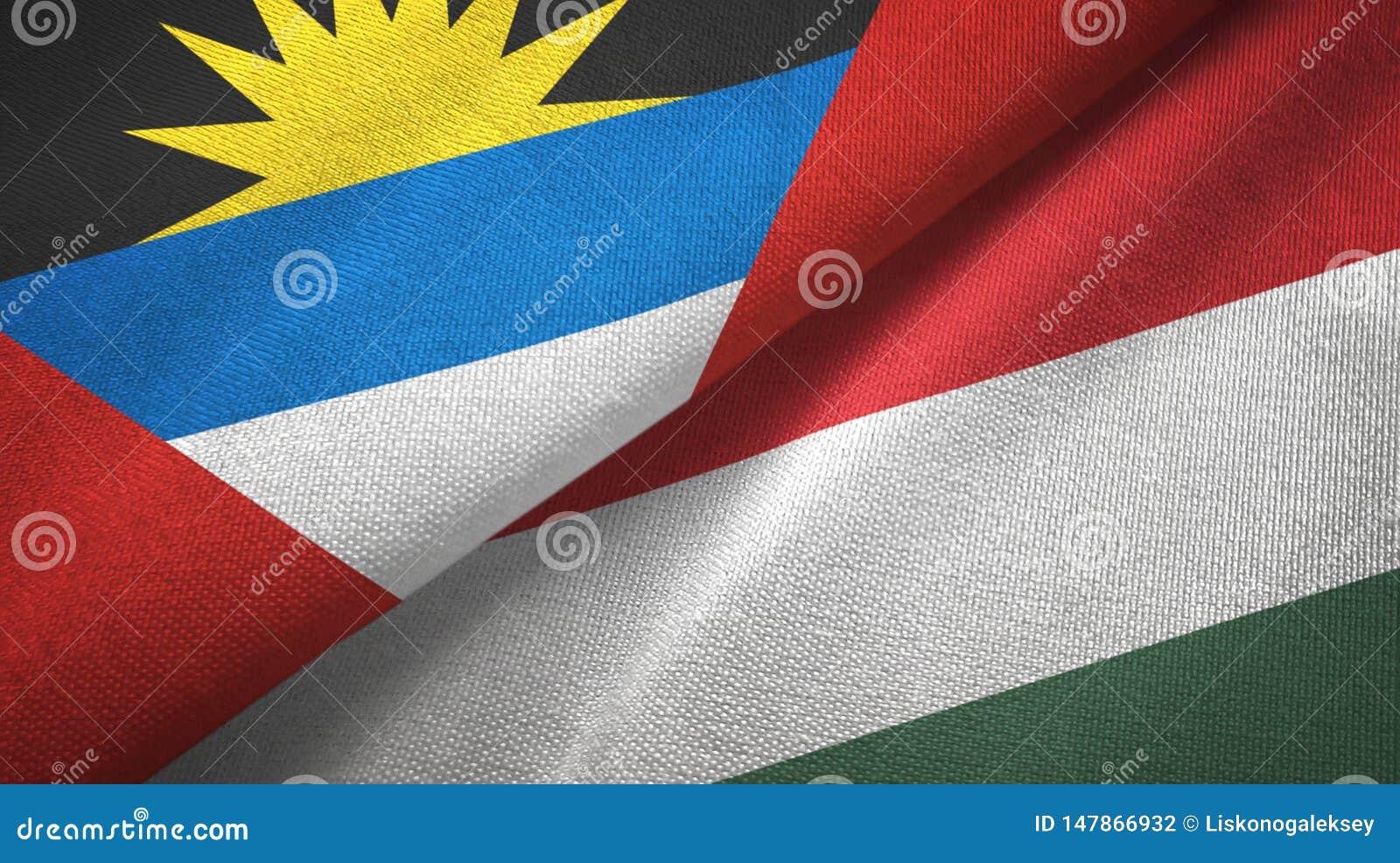 Tissu de textile de drapeaux de l Antigua-et-Barbuda et de la Hongrie deux, texture de tissu