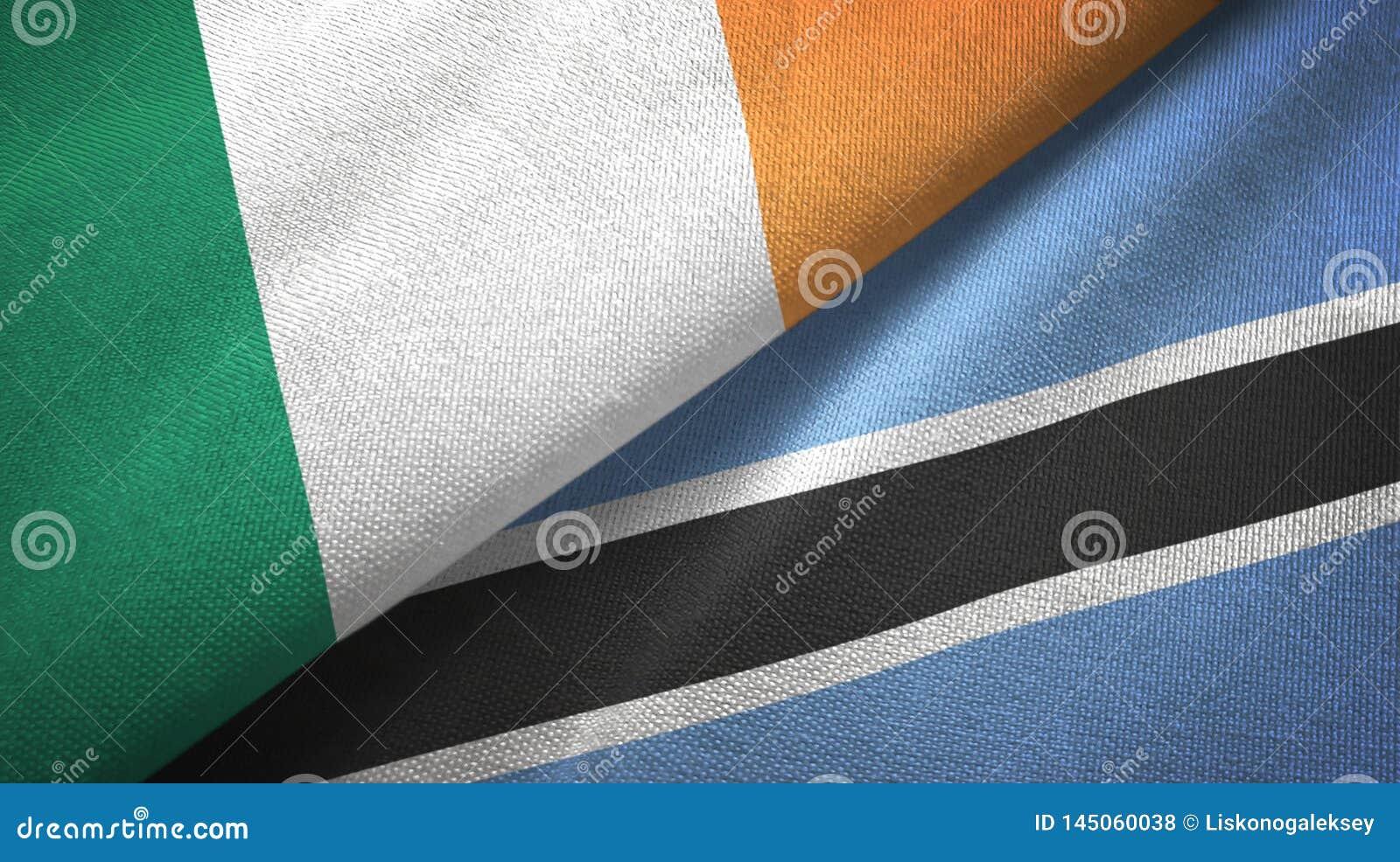 Tissu de textile de drapeaux de l Irlande et du Botswana deux, texture de tissu