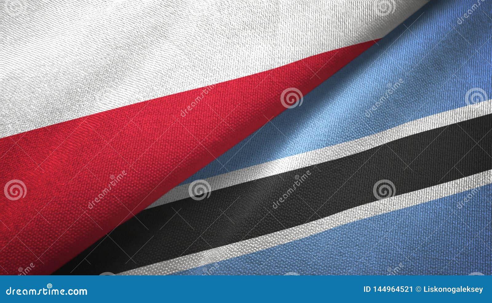 Tissu de textile de drapeaux de la Pologne et du Botswana deux, texture de tissu